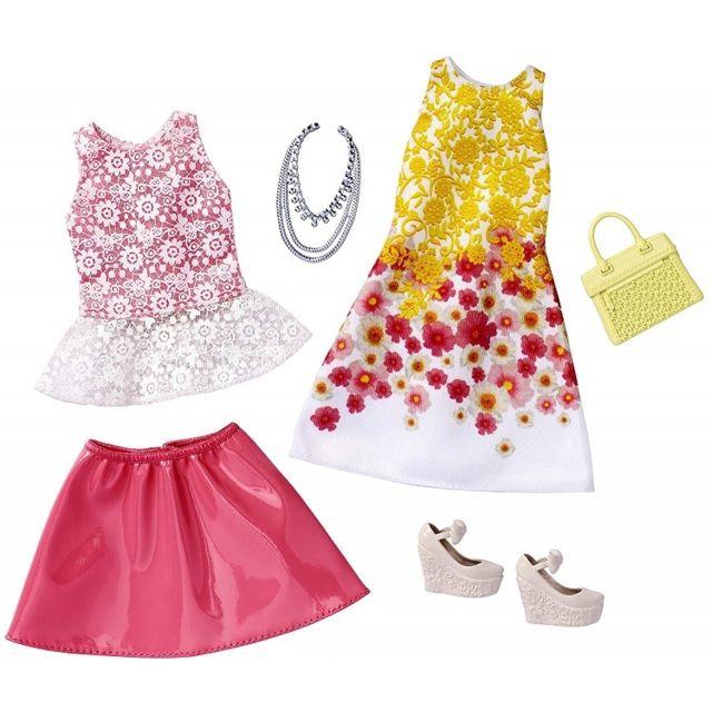 5bd81bc5692 Barbie - Set de 2 Habits   Robe Rose + Robe Jaune Et Blanche + Accessoires  - Tenue De Soiree - Vetement Poupee - pas cher Achat   Vente Poupées - ...