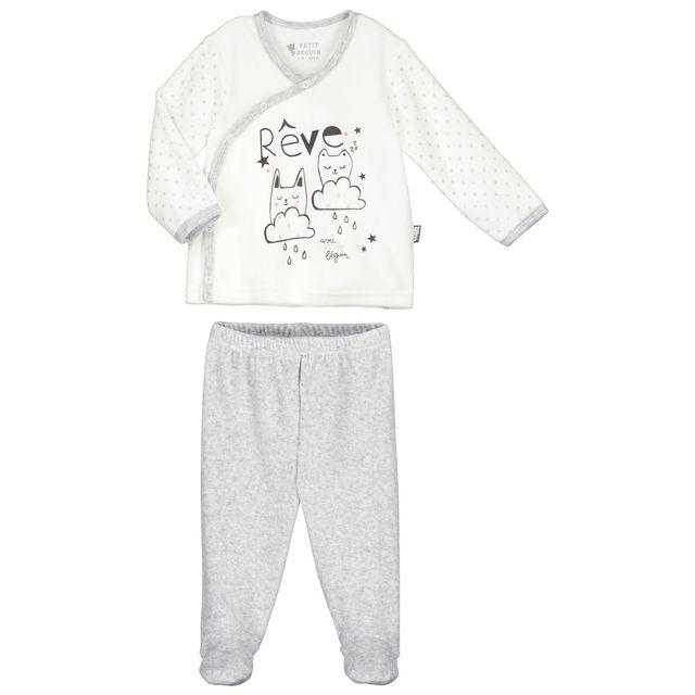 d8005a54484c1 Petit Beguin - Pyjama bébé 2 pièces velours Doux Rêves - Couleur - Ecru