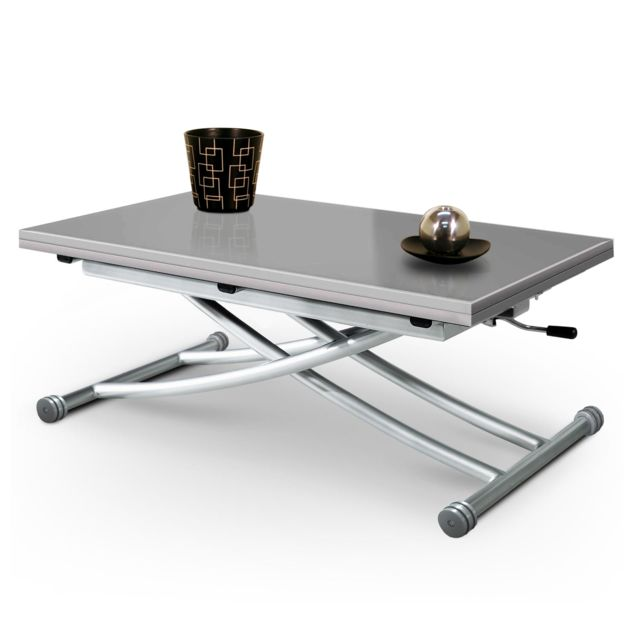 Giovanni Table basse relevable Mirage Verre Gris