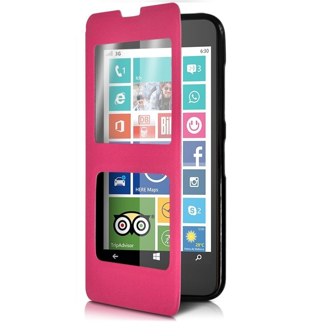 Karylax - Housse Coque Etui S-view Fonction Support Couleur Rose Fushia  pour Nokia Lumia e8cbc93abc0