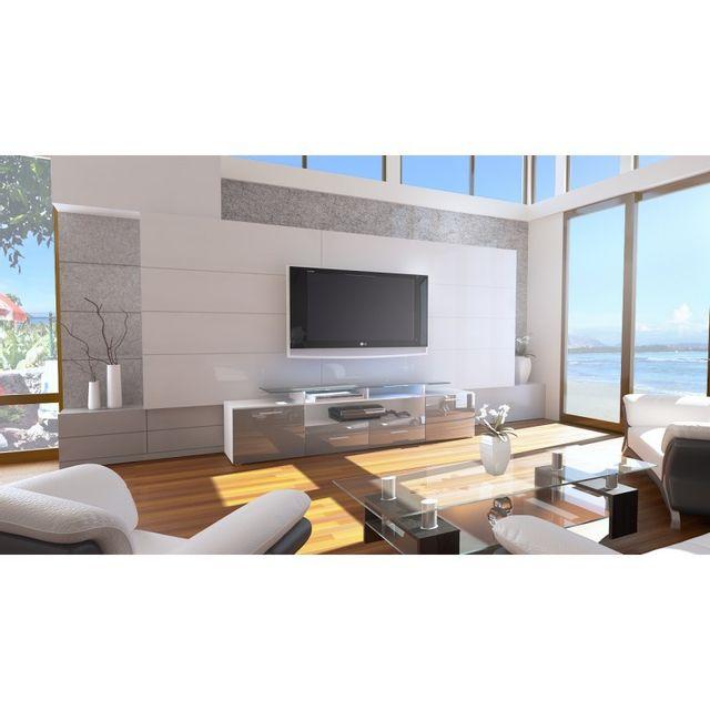 Mpc Meuble tv design blanc et gris façade laquée corps mat sans led 194 cm