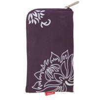 Forcell - pochette zip violette motif fleurs iPhone