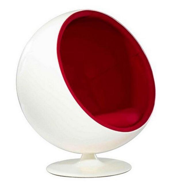 Oneboutic Fauteuil design blanc rouge - Boule