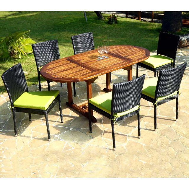 Wood En Stock - Salon en teck huilé 6 places - chaises de jardin en ...