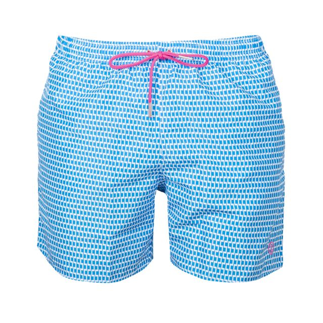 Impetus Short de bain bleu turquoise à motifs géométriques blancs