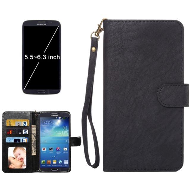 Wewoo - Housse Étui noir pour Samsung Galaxy C9 Pro / C900 & A8 2016 & S7 Edge & S6 Edge +, iPhone 7 Plus & 6s Plus & 6 De plus, Huawei Mate 9 & P9 Plus et Mate 8 & Mate 7, Taille: 16,3 x 8,5 x 1,8 cm Etui à rabat horizontal en cuir A1 Da Vinci Texture avec fente