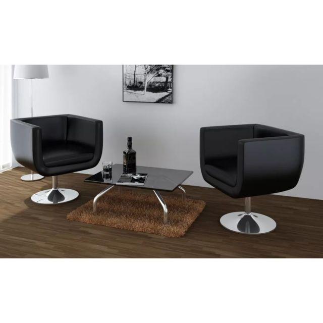 Icaverne - Fauteuils club, fauteuils inclinables et chauffeuses lits serie Chaise de bar 2 pcs Cuir artificiel Noir