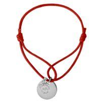 Sochicbijoux - So Chic Bijoux © Bracelet Cordon Rouge Longueur réglable Pampille Tête Ours Médaille Ronde Argent 925 - Personnalisable : Gravure Offerte