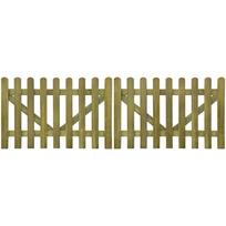 Rocambolesk - Superbe portail piquet en imprégné bois 2 pcs 300 x 100 cm neuf
