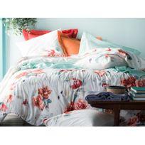 Essix - Taie d'oreiller réversible 100% percale de coton fleur aquarelle rosace Emotions