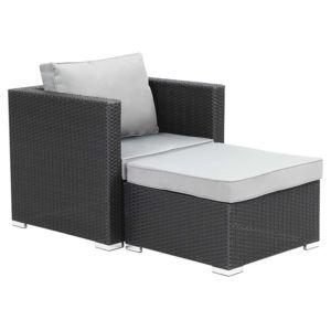 habitat et jardin fauteuil relax de jardin en r sine tress e venus atlanta noir r sine. Black Bedroom Furniture Sets. Home Design Ideas