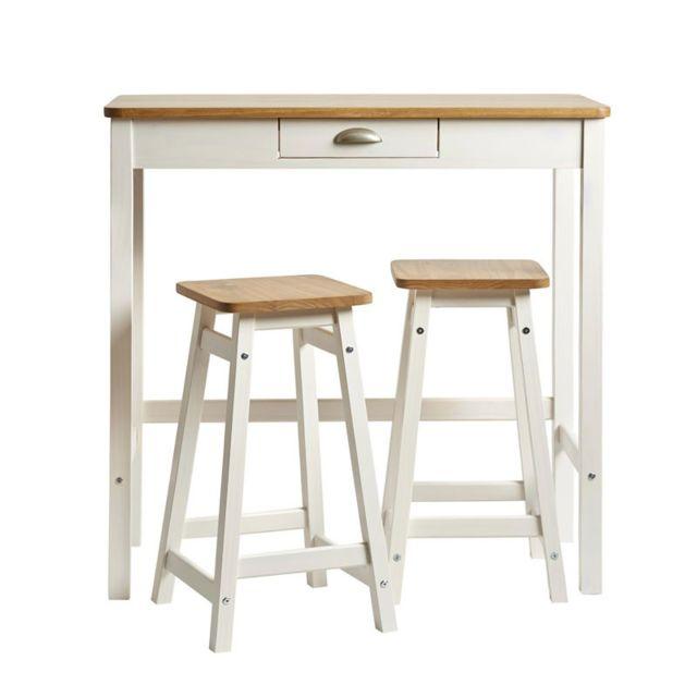 Tousmesmeubles Table haute + 2 tabourets Blanc/Bois - Izat