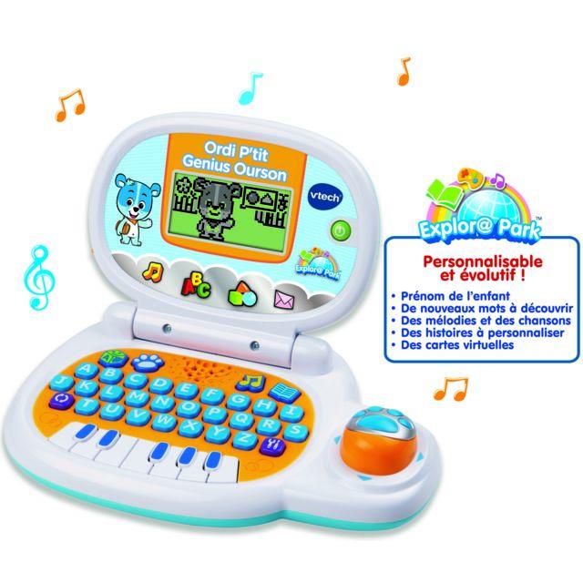 VTECH Ordi P'tit Genius Ourson bleu - 139505 Un ordinateur éducatif évolutif et personnalisable !