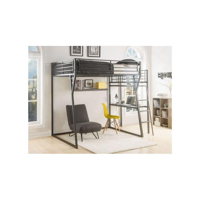 marque generique lit mezzanine cazel couchage 140x190cm plateforme bureau coloris. Black Bedroom Furniture Sets. Home Design Ideas