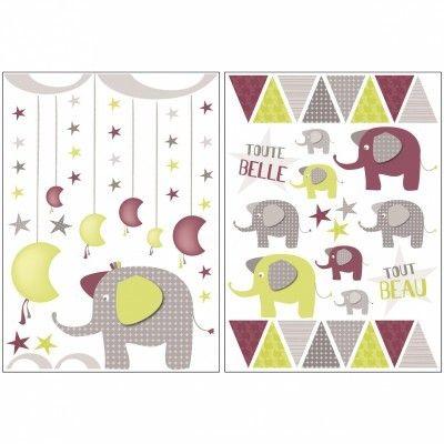 SAUTHON - Stickers chambre bébé india Beige, bordeaux, vert ...