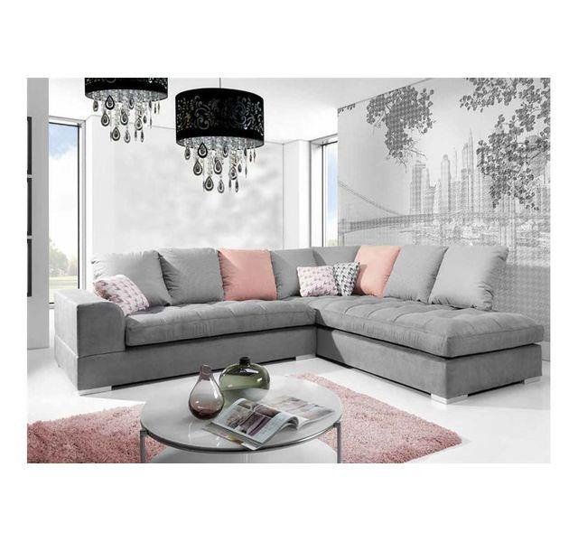 CHLOE DESIGN Canapé d'angle design AFIA - Gris - Angle droit
