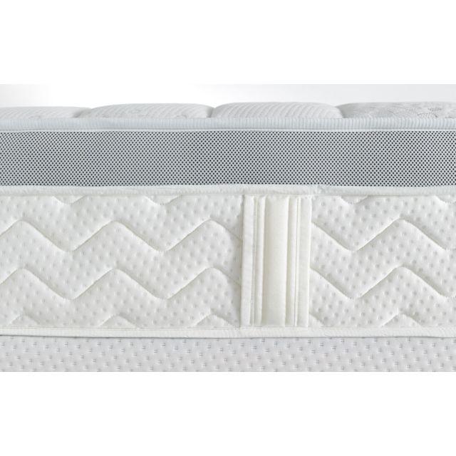 Dunlopillo - Ensemble Mirage 90-140-160 cm : Sommier Dunlosom + Pieds cylindriques hêtre clair, progressif et enveloppant Blanc