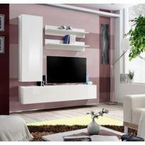 Asm-mdlt - Ensemble meuble Tv mural Fly-h blanc de haute brillance
