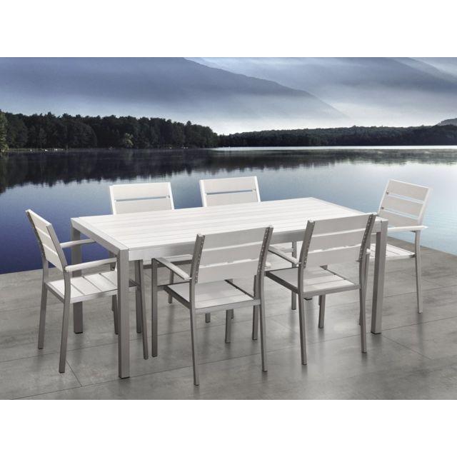 Table de jardin et 6 chaises aluminium plateau en plastique blanc 180 cm  VERNIO