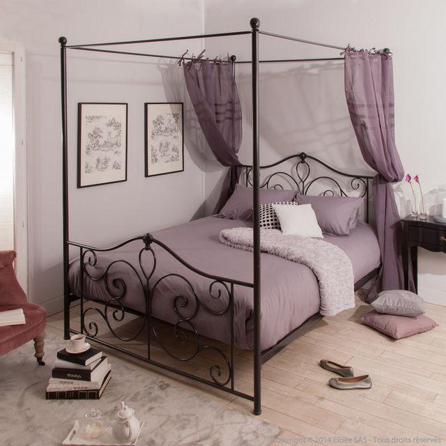marque generique lit baldaquin deux personnes en m tal florilege noir 160x200cm pas. Black Bedroom Furniture Sets. Home Design Ideas
