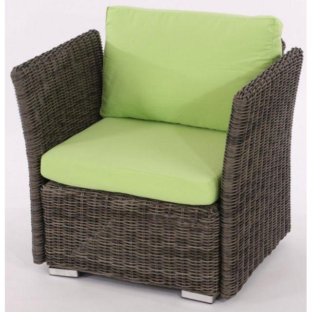 pegane fauteuil de jardin sienne poly rotin gris naturel avec des coussins en vert clair. Black Bedroom Furniture Sets. Home Design Ideas