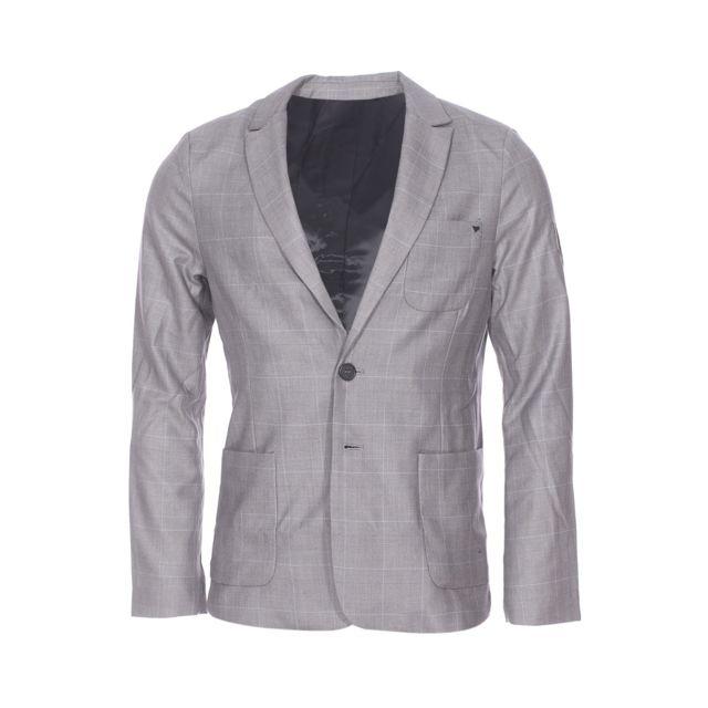Deepend Veste de blazer en coton gris à rayures bleu ciel