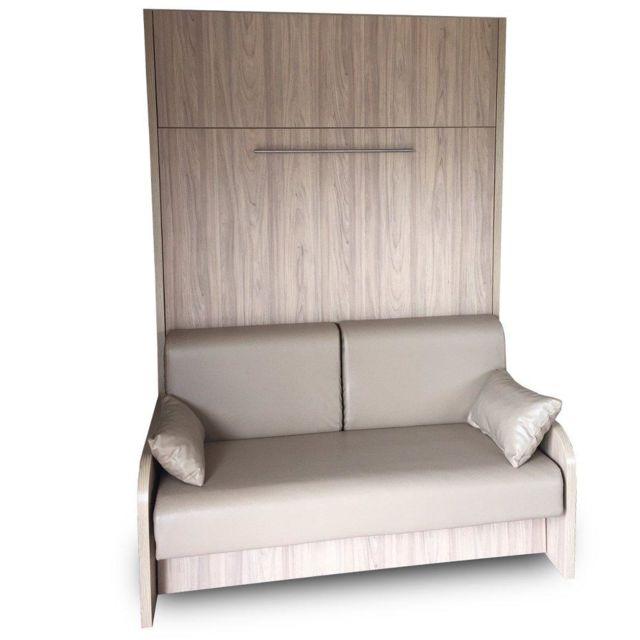 inside 75 armoire lit escamotable space sofa canap intgr simili pubeige couchage 140 200 cm - Armoire Lit Escamotable Canape Integre