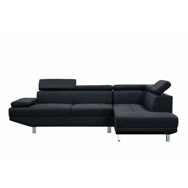 La Chaiserie Canapé design d'angle droit tissu noir Léo