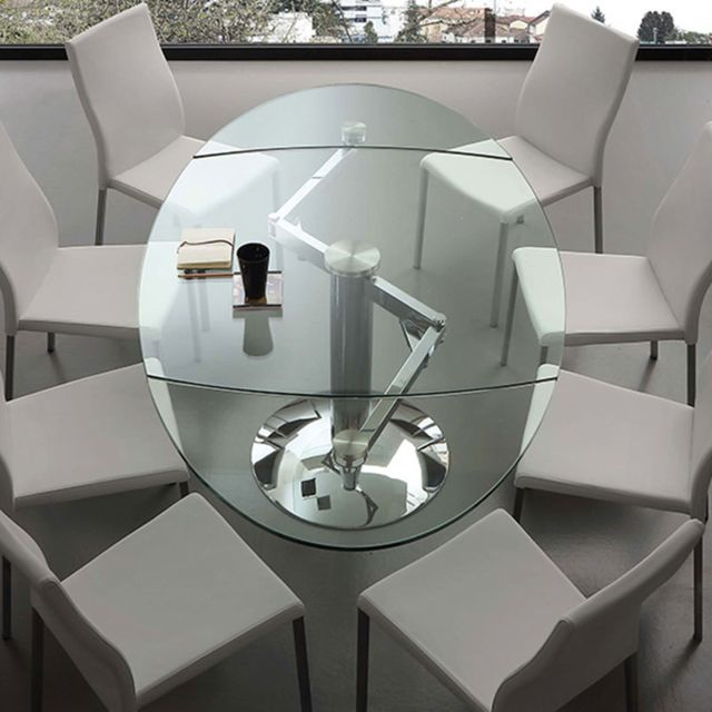 Nouvomeuble Table en verre extensible design Bonito