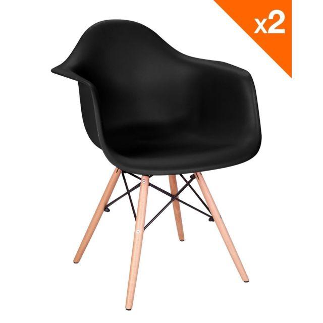 kayelles nepal lot de 2 chaises scandinave avec accoudoirs noir - Chaise Scandinave Noir