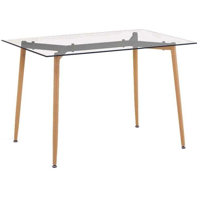 THE HOME DECO FACTORY Table repas en verre pieds effet bois 115 cm