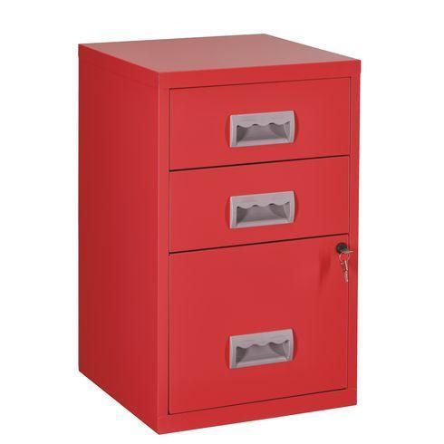 Classeur monobloc Budget 3 tiroirs rouge