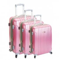 Madison - Madisson Bagage Lot de 3 valises - 4 Roues - Rigide - Extensible - Rose