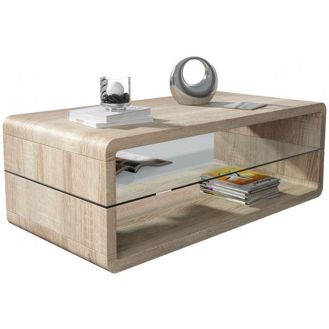 comforium table basse sonoma clair 120 cm avec plateau en verre c pascale pas cher achat. Black Bedroom Furniture Sets. Home Design Ideas