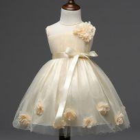 Glareola - Robe enfant élégante de Cérémonie Mariage Soirée Cocktail Demoiselle D'honneur et baptème Robe de Princesse Vetement enfant pour fille et Fillette de 2 à 12 ans Jaune