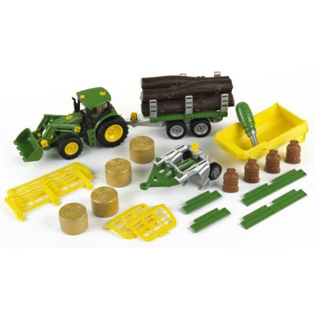 Klein Modèle réduit : Tracteur John Deere avec benne basculante, remorque, char à bois et foin, charrue