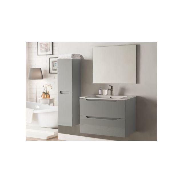 Marque generique ensemble stefanie meubles de salle de bain laqu gris pas cher achat for Marque meuble salle de bain