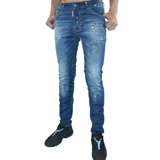 Dsquared2 - Jean - Homme - Ds 02 Cool Guy Jean - Skinny Fit - Bleu Délavé  Taches Peinture W33 L34 - pas cher Achat   Vente Jeans homme - RueDuCommerce 50b61b5a7df