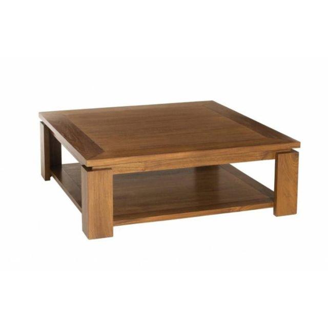 Inside 75 Table Basse 90 90cm avec Sous Plateau Style Colonial en Teck Massif