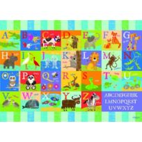Happy Spaces - 70 X 50 X 2 Cm, Kids Wall Canvas Print: Animal Alphabet By Liza Lewis