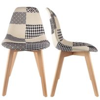 The Concept Factory - Chaise Stokholm Patchwork blanc lot de 2