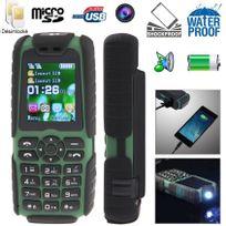 Yonis - Téléphone mobile tout terrain waterproof antichoc lampe torche Vert