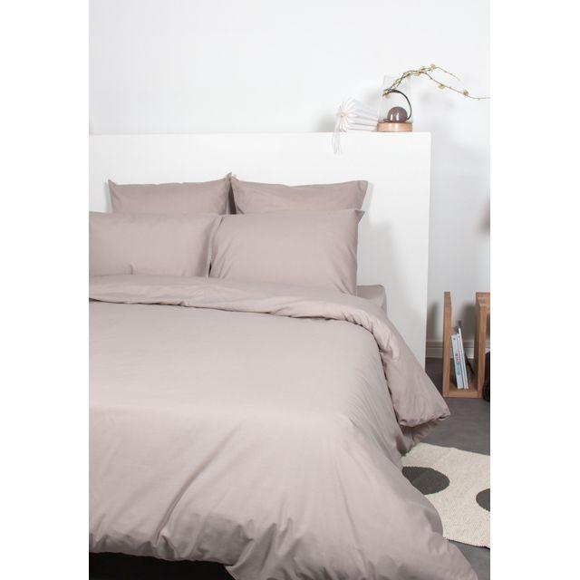comptoir des tisseurs housse de couette unie polycoton 200x200 cm taupe 200cm x 200cm pas. Black Bedroom Furniture Sets. Home Design Ideas