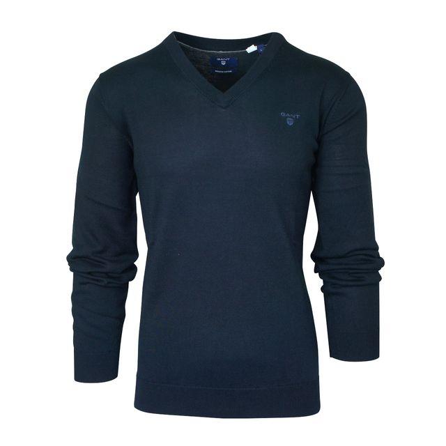 2df6872a9579 Gant - Pull col V bleu foncé 3XL - pas cher Achat   Vente Pull homme -  RueDuCommerce