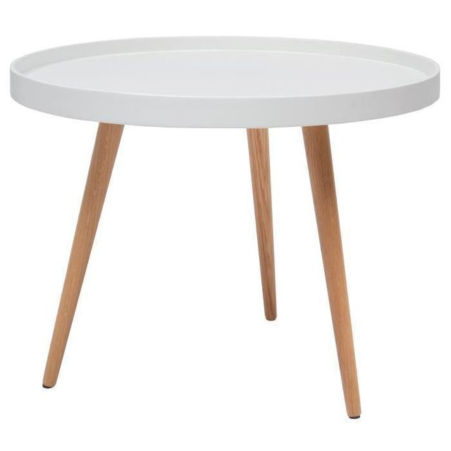 Aucune Nordic Table Basse Ronde Scandinave Laquée Blanc Pieds En