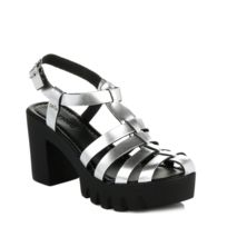 4ever young - Womens Chunky Sandal Metallic Silver Strap-UK 8