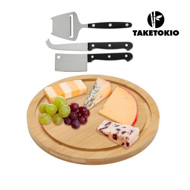 Totalcadeau Plateau de service pour fromage en bois avec accessoires - Set ustensile cuisine