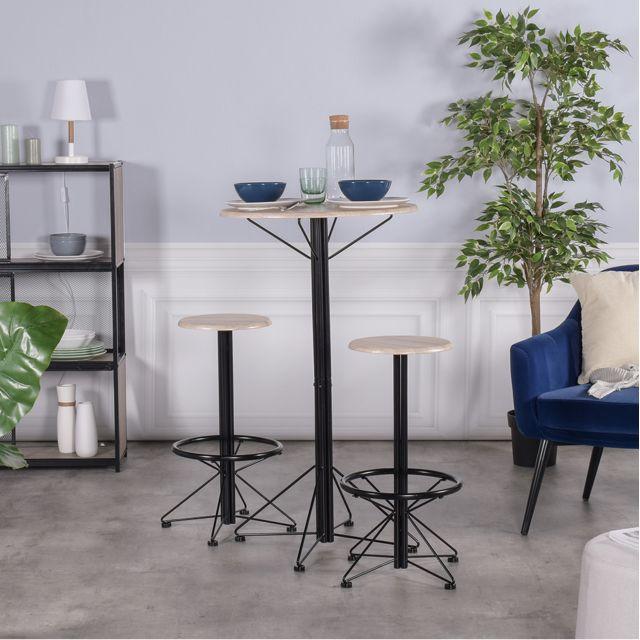Meuble Express Ensemble bar table et tabourets 2 places chêne