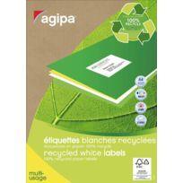 Agipa - 101196 - etiquette adresse multi-usage recyclée - format 9,9x3,8 cm - paquet de 1400