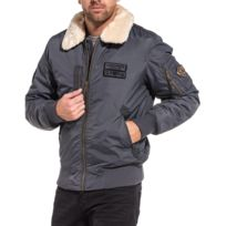 Legenders - Blouson aviateur hiver gris col fourrure